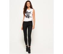 Damen Elana 7/8-Jeans mit Beschichtung schwarz