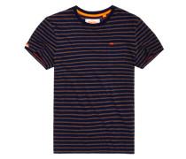 Herren Gestreiftes Rustic T-Shirt mit Tasche marineblau