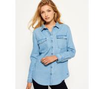 Damen Oversized Jeanshemd blau