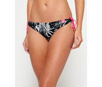 Damen Bikinihöschen mit Hawaii-Print in Marmor-Optik schwarz