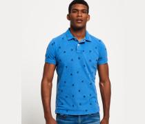 Herren Vintage Destroyed Bermuda Polohemd blau