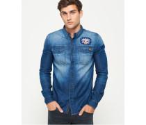 Herren Dragway Langarm-Jeanshemd mit Aufnähern blau