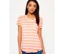 Damen Essentials Sheer Stripe T-Shirt koralle