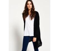 Damen Feinstrick-Cardigan Rayon mit Kapuze schwarz