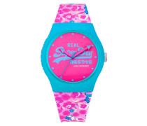 Damen Urban Floral Armbanduhr pink