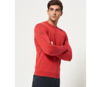 Herren Stückgefärbter L.a. Pullover mit Rundhalsausschnitt rot