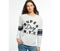 Damen Appliqué Crew Sweatshirt mit Tasche grau