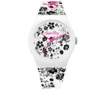 Damen Urban Armbanduhr mit Blümchenmuster weiß