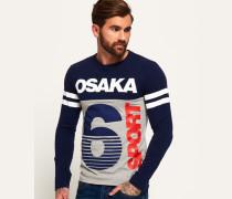 Herren Osaka 6 Sport Panel Langarm-T-Shirt marineblau