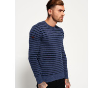 Herren Orange Label Stripe Crew Pulli blau