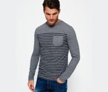 Herren Solent Stripe Long Sleeve T-Shirt grau