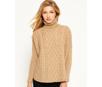 Damen Cable Cape Pulli braun