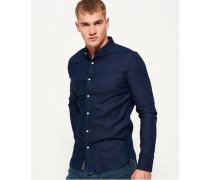 Herren Indigoblaues, schmal geschnittenes Langarmhemd blau