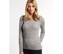 Damen Croyde Twist Cable Strickpulli grau