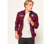 Herren Lumberjack Hemd mit Aufnähern rot