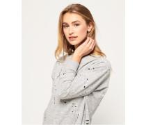 Damen Edgy Nibbled Sweatshirt mit Rundhalsausschnitt hellgrau