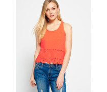 Damen Beach Broderie Shell Top koralle