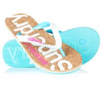 Damen Cork Flip Flops weiß