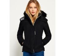 Damen Hooded Fur Sherpa Wind Attacker schwarz