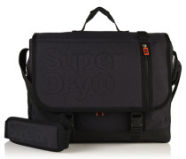 Herren Embossed Messenger Bag schwarz