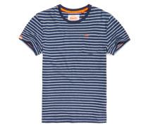 Herren Gestreiftes Rustic T-Shirt mit Tasche blau