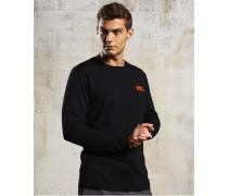 Herren Sport Label Langarm-T-Shirt schwarz