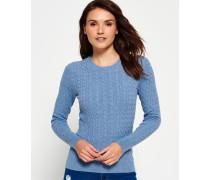 Damen Summer Luxe Mini Cable Knit Pullover blau