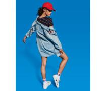 Damen Übergroßes Jeanshemd mit Aufnähern blau