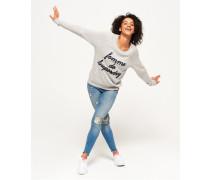 Damen Raglan-Pullover mit Applikation und Rundhalsausschnitt hellgrau