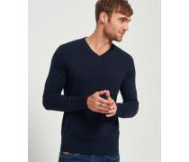 Herren Orange Label Strickpullover mit V-Ausschnitt marineblau