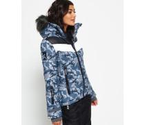 Damen Retro Chevron Hooded Puffer Jacke grau