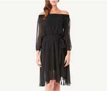 Schulterfreies Kleid aus Georgette
