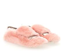 Slipper A77990 Kaninchenfell rosa Veloursleder rosa