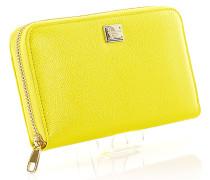 Portemonnaie Geldbörse Leder gelb geprägt