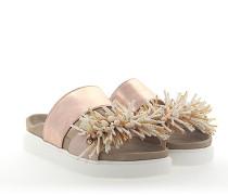 Sandalen Leder rosé metallic Schmuckverzierung