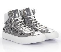 Sneakers High Argyle metallic Leder Nappaleder Sternenverzierung