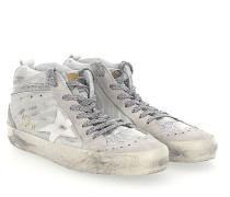 Sneaker MID STAR Veloursleder grau zebra look Glitzer Star-Patch weiss