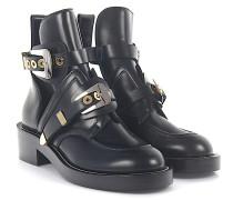 Ankle Boots Leder Metallschnallen silber gold