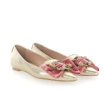 Ballerinas 9131 Leder Samt schleife rosè