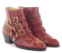 Stiefeletten Boots Susanna Nappeleder bordeaux Florale-Nieten gold
