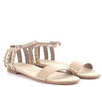 AGL Sandalen D62203 Knöchelriemchen Lackleder beige Nieten gold
