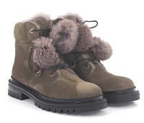 Stiefeletten Boots Elba Flat Veloursleder braun Pelz