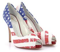 Peeptoe Pumps Stoff USA Flagge