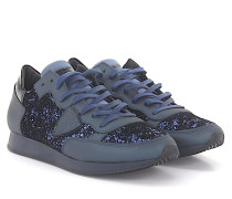 Sneaker TROPEZ LOW Leder Samt schwarz Glitzer