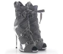 Stiefeletten Boots NATALIE Peeptoe Leder poliert Stoff glitzer Kristallverzierung
