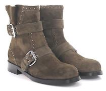 Boots Blyss Flat Veloursleder braun Metallverzierungen