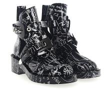 Stiefeletten Boots Leder Metallschnallen silber