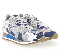 Sneaker PARADIS Leder camouflage blau weiss Glitzer silber Kolibri Patch