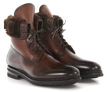 Stiefeletten Boots 11647 Leder dunkel Lammleder hell Lammfell