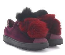 Sneaker MADELEINE LOW Samt bordeaux Fuchsfell-Pompons schwarz